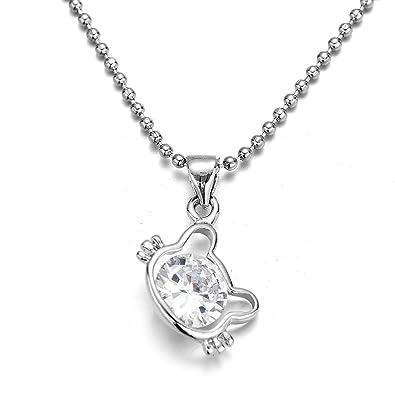 FSMILING Gato del 5A Circón Colgante Collar para Mujer niñas. (Hello Kitty)