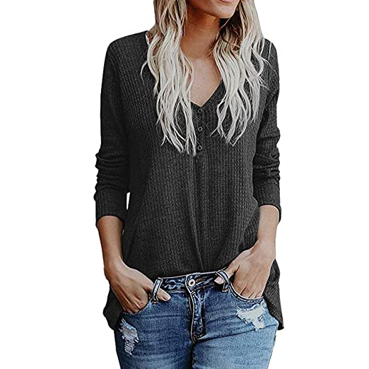 5d1bc6d7 Image Unavailable. Image not available for. Color: Women Loose Blouse Long  Sleeve V Neck Button Down ...