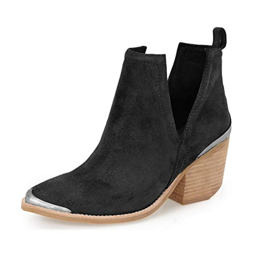 bf9ecb55dfc3 YDN Women Ankle Booties Low Heel Faux Suede Block Boots Cut Out Shoes with  Metal Toe Black 8.5  Amazon.ca  Shoes   Handbags