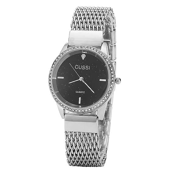 Ladies Star de malla pulsera vestido reloj de pulsera para las mujeres – Hembra oro,