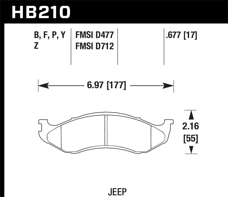 Hawk Performance HB210Y.677 LTS Brake Pad
