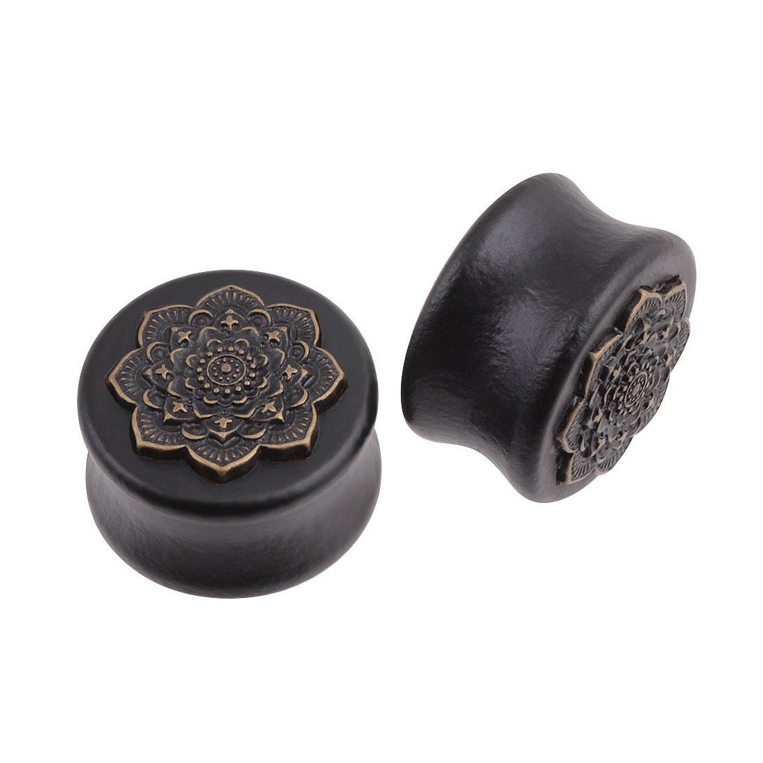 Molyveva Vintage Wood Saddle Ear Plugs Tunnels Stretcher Expander Lotus Tunnels Ear Piercing Jewelry