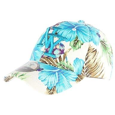 Hip Hop Honour Gorra de béisbol Azul con Flores NY Hawai – Unisex ...