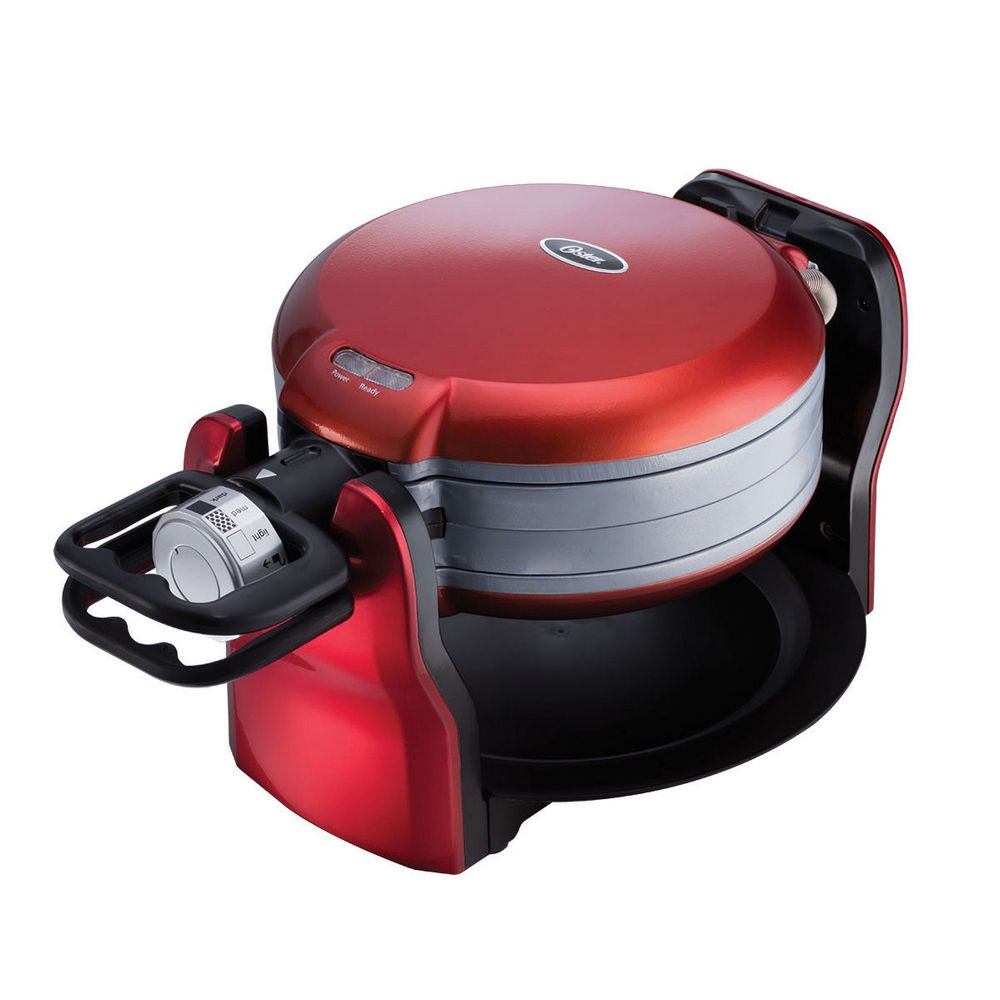 Oster DuraCeramic Titanium Infused Double Flip Waffle Maker, Red CKSTWF20R by Oster (Image #2)