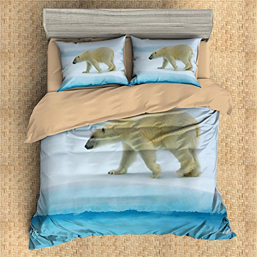 3D Personalized Design Polar bear Duvet Cover Set Style Microfiber Decoration Room home (Queen -Style 11)