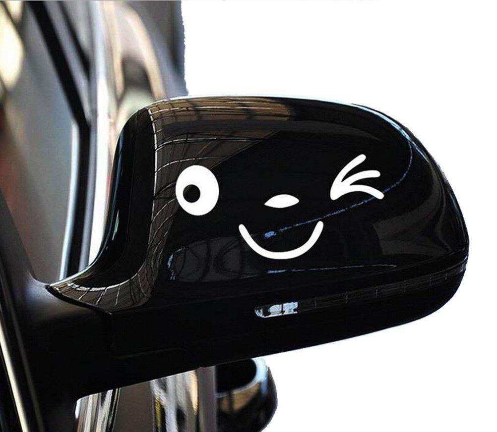 JUNGEN 1 Paire Visage Craquant Souriant Sticker Visage 3D Autocollant Pour Auto Voiture C/ôt/é Miroir L R R/étroviseur