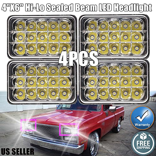 4X6 LED Sealed Beam Headlights for (81-87) Chevy Pick Up 6000K High Low Beam Light Easy Installation with H4 Plug, H4651 H4652 H4656 H4666 H6545 Super Bright Replacement, 2 Years Warranty ()