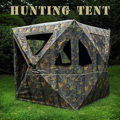 BenefitUSA 2-3 Person Camouflage Hunting Blind Ground Deer Archery Outhouse Camo Hunting Shooting Bowhunting Tent ()