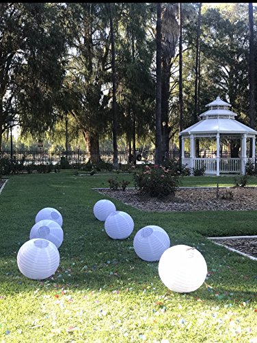 Paper Lanterns 12 inch White Round 8 Pack with Multi Color Changing Party Lights | for Weddings, Parties & Celebration by TheWayYouWant (Image #1)
