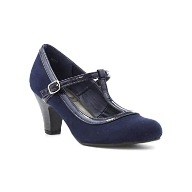 7b93ad9f81 Lilley Womens Navy Heeled T-Bar Court Shoe: Amazon.co.uk: Shoes & Bags