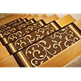 """Gloria Rug Stair Treads Non Slip - Outdoor Skid Resistant Stair Set of 7 (8.5"""" x 26"""") Beautiful Floral Design Stair Mats with Rubber Backing, Brown Floral Design"""