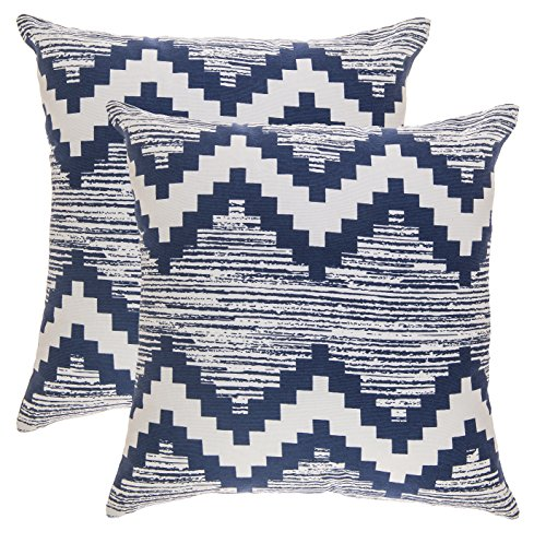 hrow Pillow Covers Ikat Chevron Accent in Cotton Canvas (16 x 16 Inches; Navy Blue) (16 Inch Accent Pillow)