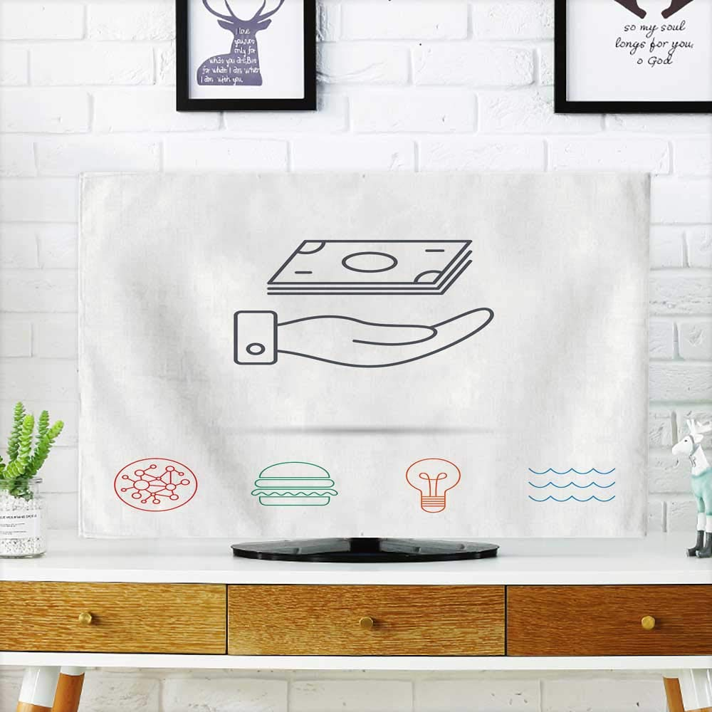 Analisahome Dust Resistant Television Protector Save Money icon with Cash Sign Investment or savs Symbol Global Connect tv dust Cover W19 x H30 INCH/TV 32''