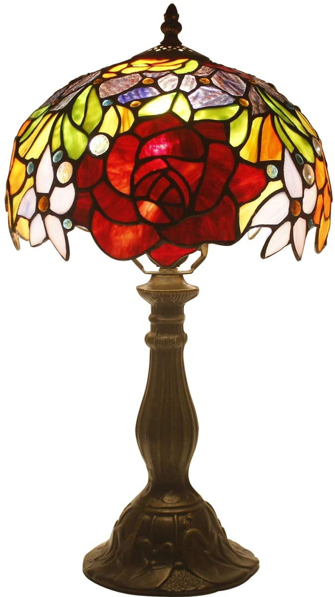 Tiffany Style Table Lamps 10 inch Wide Red Stained Glass Rose Lamp Shade 1 Bulb Desk Antique Light Zinc Base for Girlfriend Living Room Bedroom Bedside Table S001 WERFACTORY