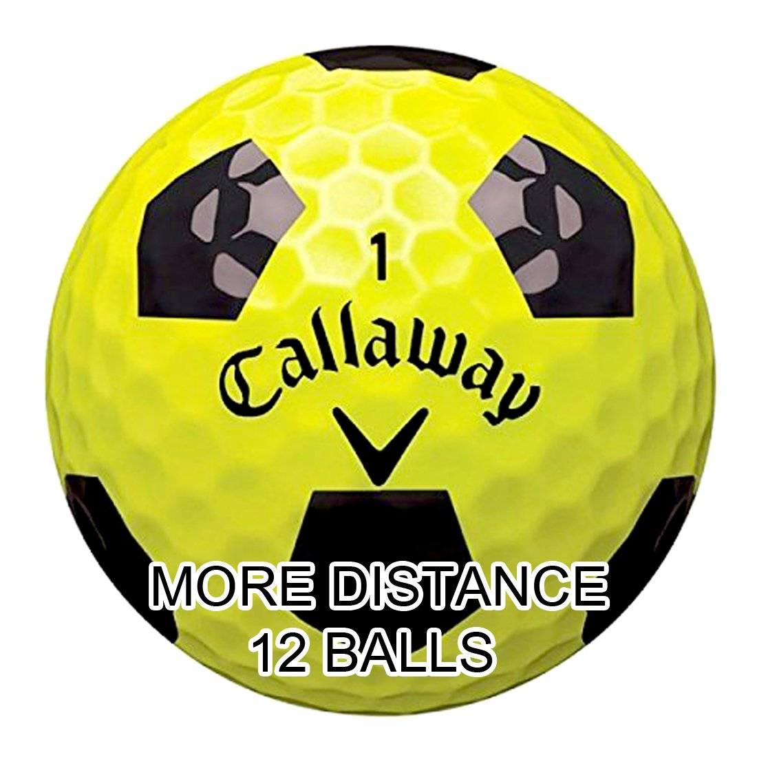 New Callaway Chrome Soft Golf Balls with Truvis Technology - Made in USA ( 12 Pack) Choose your Color (Color - Truvis Black on Yellow)