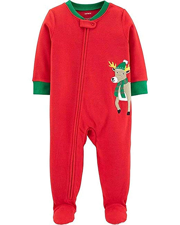 4T 1-Piece Christmas Reindeer Fleece PJs Red