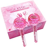 MICOKAY Ice Globes For Facials, 2PC Roller Massager Facial Skin Care Tools for Face and Eye Reduce Puffiness (Pink)