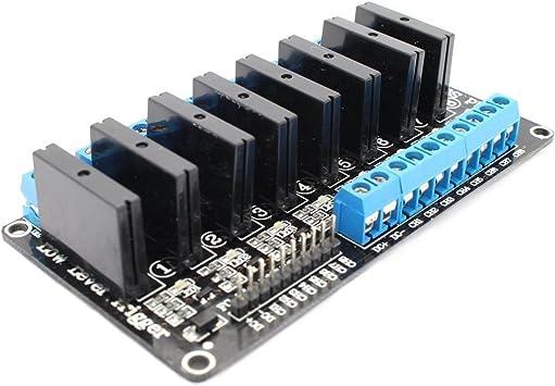 5V 8-Canales 2A Disparador de Alto Nivel del M/ódulo de Rel/é de Estado S/ólido con Fusible Resistivo para Arduino