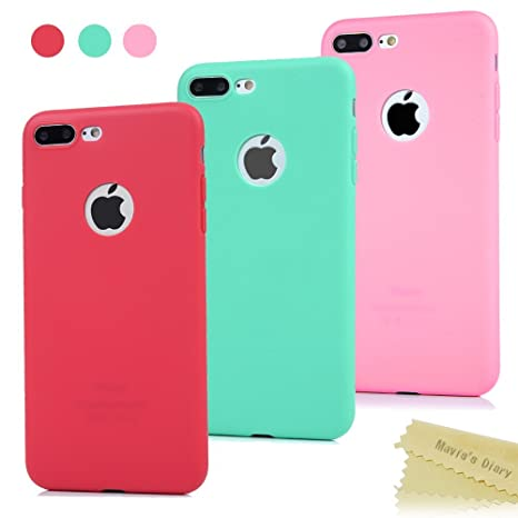 3x Funda iPhone 7 Plus, Carcasa Silicona Gel - Maviss Diary Mate Case Ultra Delgado TPU Goma Flexible Cover Protectora para iPhone 7 Plus 5.5