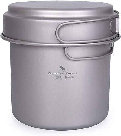 iBasingo Titanium Pot Pan Set Lightweight Camping Bowl Dsih Outdoor Kitchen Cookware Set Portable Cooking Kit with Folding Handle Travel Tableware Mess Kit for 1-2 People 2 pcs//set