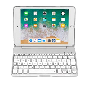 Earto iPad Mini 4 Keyboard Case 7 Color Backlit Wireless/BT Keyboard Cover Slim Built-in Stand Folio Keyboard Case for iPad Mini 4 (Silver)
