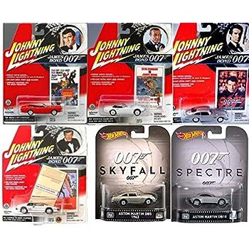 Hot Wheels James Bond Spectre & 007 Johnny Lightning Cars - James Bond '64 Aston Martin - Mercury Cougar - Toyota 2000 - Lotus Turbo Your Eyes Only Skyfall Retro Entertainment Real Riders Spy die-cast