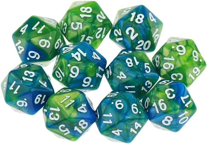 D DOLITY 10pcs Dados de 20 Caras D20 Polyhedral Dice para Dungeons and Dragons Juego de Mesa Accesorios - Verde púrpura: Amazon.es: Juguetes y juegos