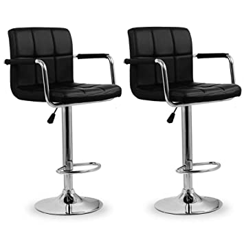 b9b9152bb894 Homfa 2 X Bar Stools Breakfast Swivel Stools Faux Leather Kitchen stools  Adjustable Chairs with Backs