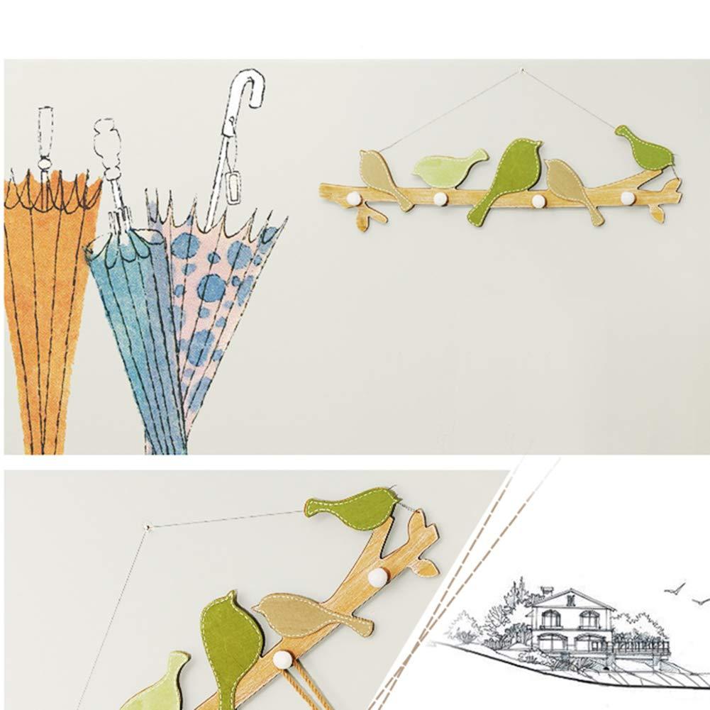 sombreros para decoraci/ón del hogar ganchos de pared con 4 ganchos para abrigos p/ájaros creativo toallas Saim Perchero de pared con dise/ño de p/ájaros de madera llaves bufandas ropa