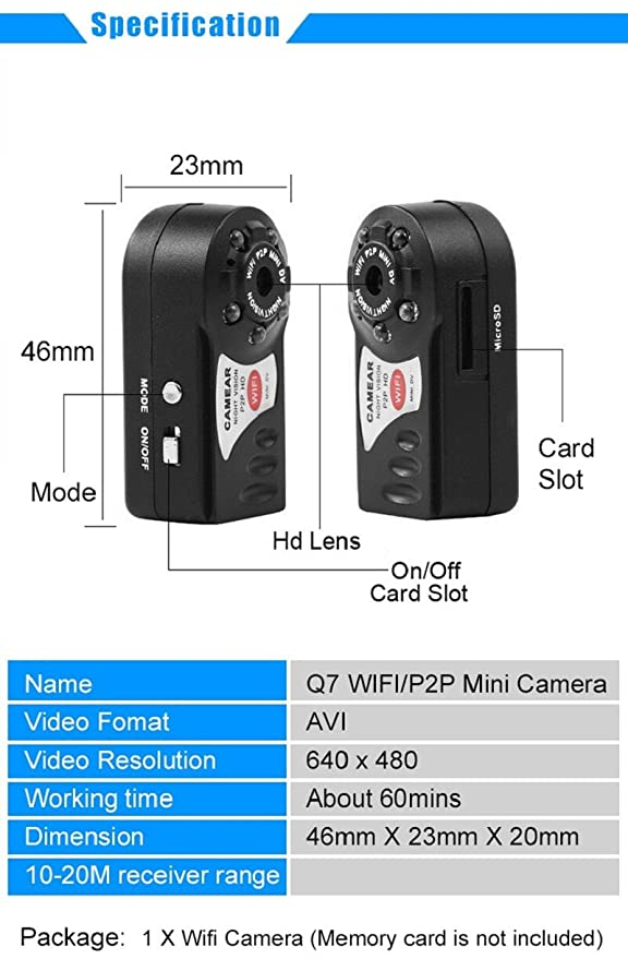 Amazon.com : WiFi Spy Camera Mini Q7 Camera DV DVR Wireless Nanny IP Cam Brand New Mini Video Espia Camcorder Recorder Infrared Night Vision : Camera & ...
