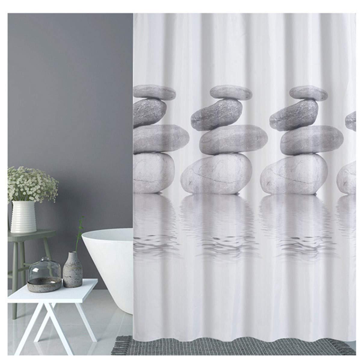 moho Resis tenter y impermeable cortina de ducha con 12/Anillas Oro Being cortina de ducha gris Pebble 120 x 180 cm