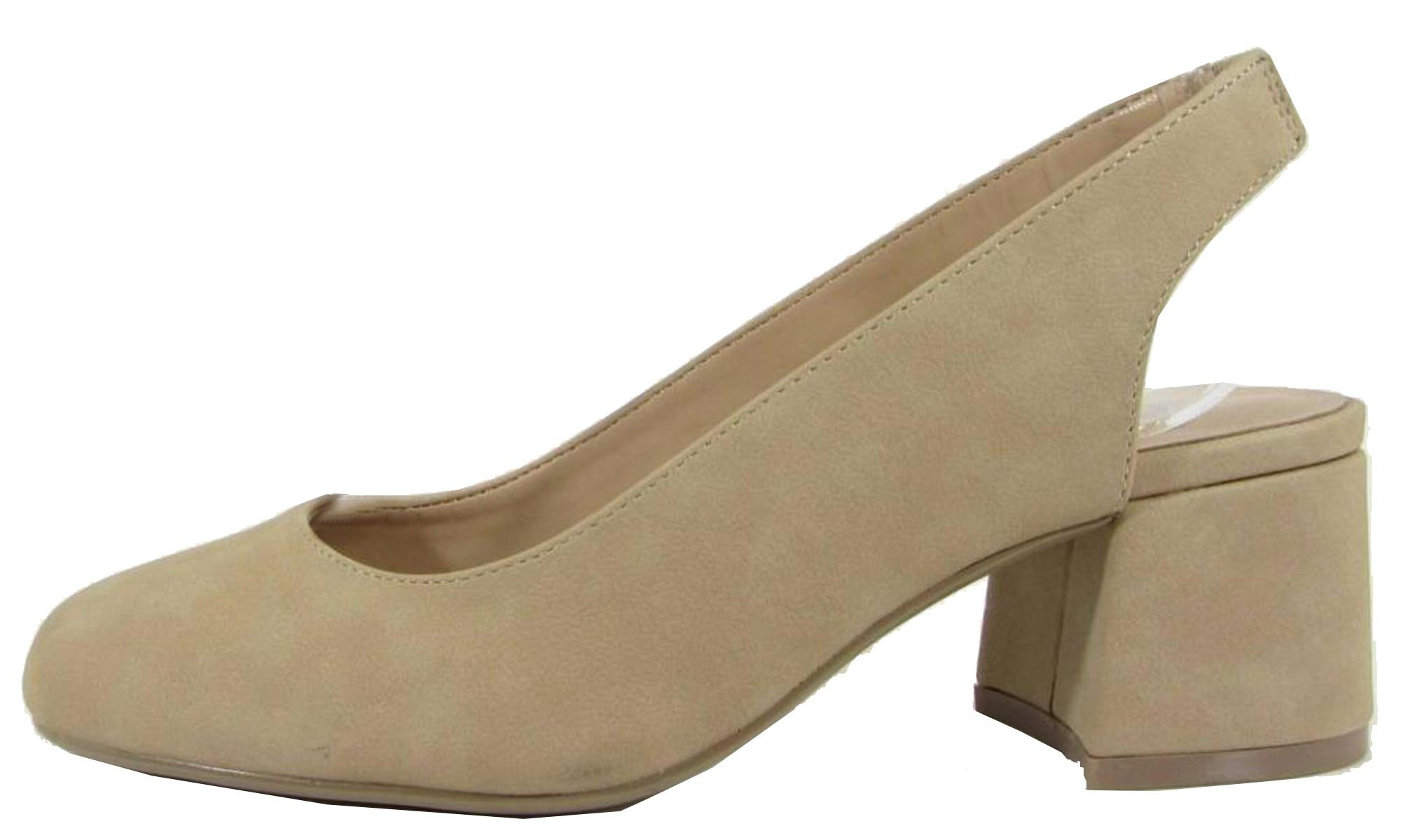 City Classified Women's Slingback Round Toe Block Heel Sandal Pump (10 B(M) US, Natural NBPU) by City Classified (Image #1)
