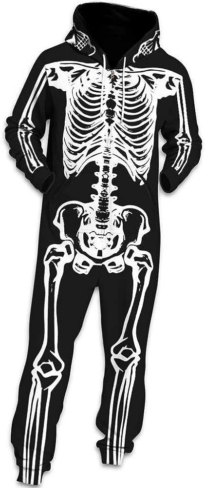 Otoño Calavera Sudadera con Capucha de Hombre, Morbuy Unisexo Trabajo Jumpsuit Pijama en Una Sola Pieza Manga Larga Estrella Impresión 3D Cierre de Cremallera Playsuit Adulto