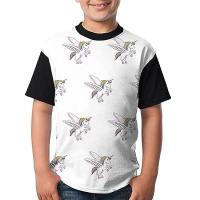 BDS1YO Youth Short Sleeved T - Shirt Printing LogoFlying Unicorn Round Neck Cotton T-Shirt Boys Tee