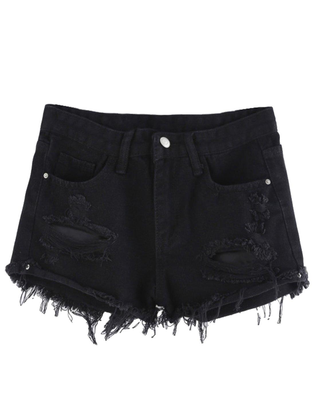 MakeMeChic Women's Frayed Raw Hem Ripped Distressed Denim Shorts Black# S