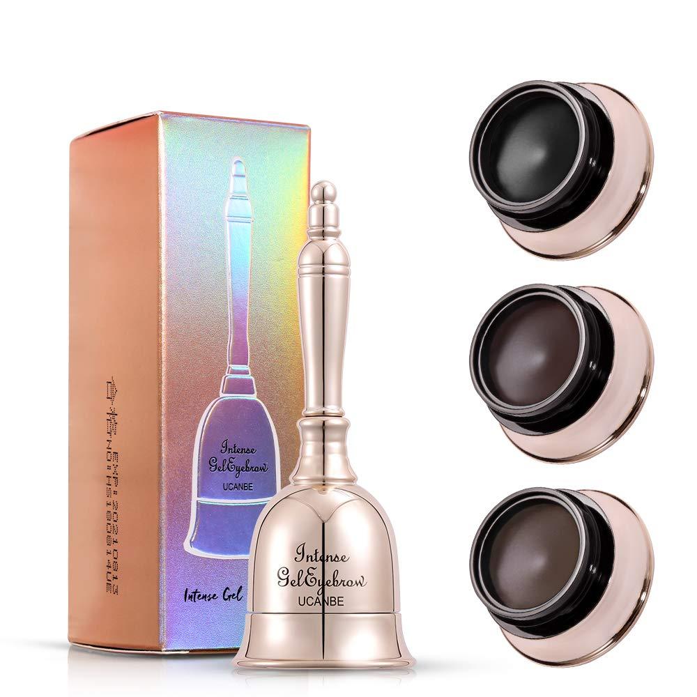 UCANBE Bell Shape Eyebrow Tint Gel Long Lasting Makeup, Waterproof Smudge-proof Eye Brow with Brushes, Black/Dark Brown/Gray Brown 3 Colors in One Package