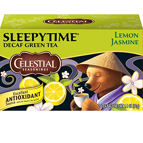 Nutri Green Tea Tea - Celestial Seasonings Green Tea, Sleepytime Decaf Lemon Jasmine, 20 Count (Pack of 6)