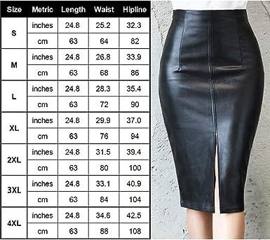ljym88 Falda para mujer de piel sintética con abertura trasera ...