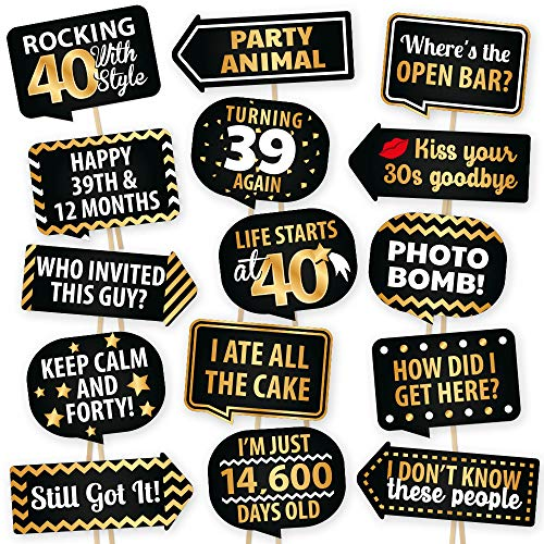 40th Birthday Photo Booth Props By PartyGraphix - European Made Black And Gold Happy 40th Birthday Decorations - Easy To Assemble 40th Birthday Party Selfie Props Kit Includes 15 Pieces