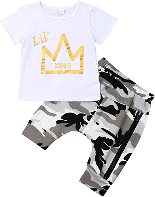 2PCS Toddler Kids Baby Boys Tops T-shirt Pants Harem Casual Outfits Set Clothes