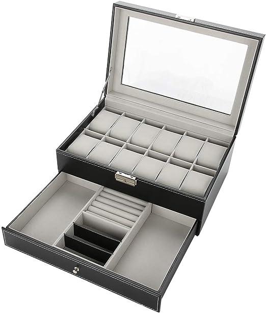 Caja de Almacenamiento de 12 Rejillas de Doble Capa de Piel ...