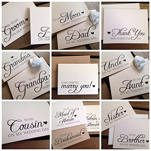 On My Wedding Day Cards - Bride or Groom - Officiant - Mom Dad Grandma Grandpa Aunt Uncle Cousin Brother Sister Family - Wedding Bridal Party - Eco Friendly (Letter To My Mom On My Wedding Day)