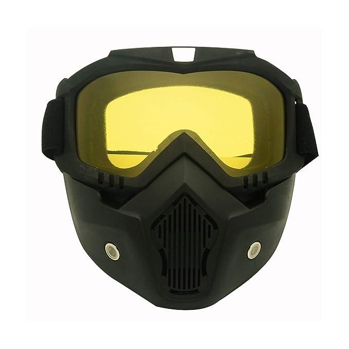 51e6b509d4 AnazoZ Gafas de Moto Gafas de Casco Gafas de Montar Gafas Protectoras  Deporte Gafas Protectoras Gafas de Máscara Gafas Protectoras Viento Gafas  Amarillo: ...