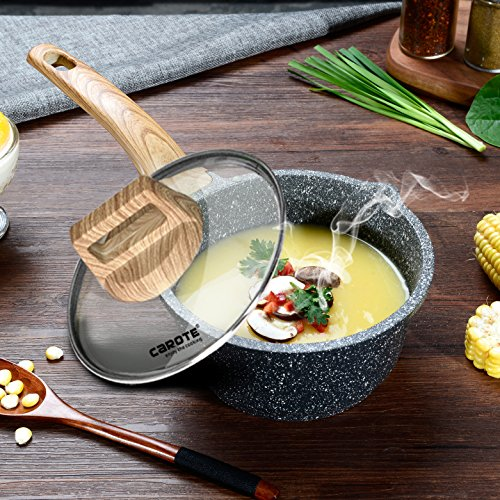Carote 7 Inch/1.3 Quart Milk Saucepan PFOA Free Stone-Derived Non-Stick Coating From Switzerland,Wood Effect Handle, Suitable For All Stove Including Induction