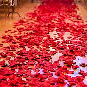 2016 PCS Dark Silk Rose Petals Wedding Flower Decoration Artificial Red Rose Flower Petals for Wedding Party Favors Decoration and Vase Home Decor Wedding Bridal Decoration 1