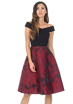 fdd6b3775b46d AX Paris Women's Black and Red Contrast 2 in 1 Floral Dress(Black Red,