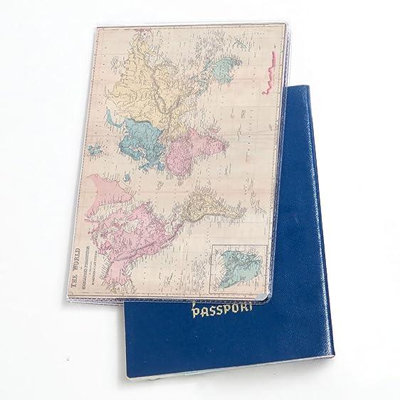 Amazon world map pattern passport holder flexibel pvc material world map pattern passport holder flexibel pvc material travel wallet case gumiabroncs Choice Image
