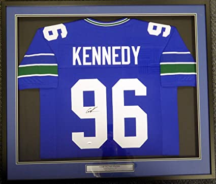 9f15b2a86 SEATTLE SEAHAWKS CORTEZ KENNEDY AUTOGRAPHED FRAMED BLUE JERSEY MCS HOLO  STOCK #113527