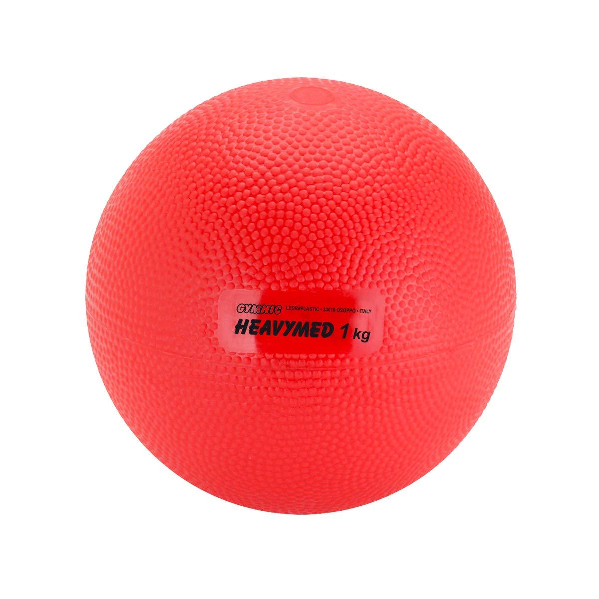 Gymnic Heavymed 1 Medicine Ball, Red (12 cm, 1 kg / 2.2 lbs)