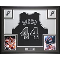 $595 » George Gervin Autographed Black San Antonio Spurs Jersey - Beautifully Matted and Framed - Hand Signed By Gervin and Certified…